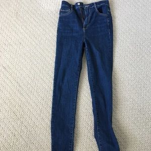 Garage dark blue high rise skinny jeans